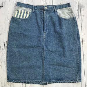 Vintage GITANO Denim skirt 20W Two tone blue